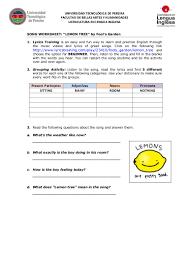 Participle Worksheet Song Worksheet Lemon Tree