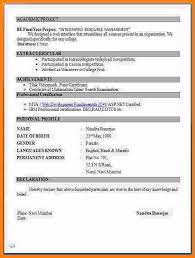 Professional Resume Format For Fresher by Mca Fresher Resume Format Professional Curriculum Vitae Resume
