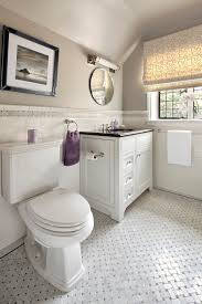 Mirrored Subway Tile Backsplash Bathroom Transitional With by New York Commercial Bathroom Design Contemporary With Round Mirror