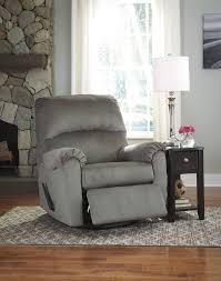 Ashley Swivel Chair by Ashley 2600261 Bronwyn Alloy Grey Tone Fabric Swivel Glider Recliner