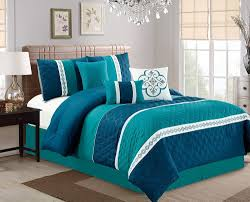 Navy Blue Bedding Set by 7 Piece Diamond Quilted Teal Navy Comforter Set