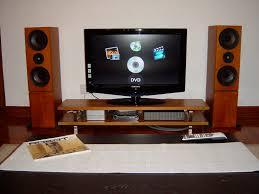 Dark Wooden Tv Stands Long Short Dark Brown Tv Stand With Glass Doors And Audio Speaker