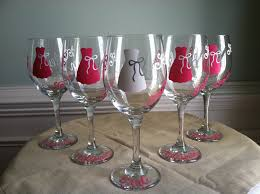 6 personalized monogram wine glass bridesmaid wedding dress