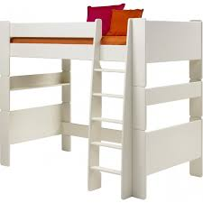 For Kids High Sleeper Bed In Solid Plain White - High bunk beds