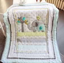7 pcs cute elephant baby bedding set baby cradle crib cot bedding
