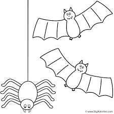 Spider Color Pages Bats With Spider Coloring Page Halloween by Spider Color Pages