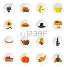 thanksgiving icons set in flat style happy thanksgiving day