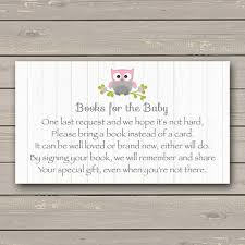 bring a book instead of a card baby shower owl baby shower bring a book instead of a card insert pink