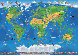Poster Kinderzimmer Weltkarte Fr Kinder Tapeten Kinderzimmer Lustige Weltkarte