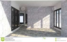 modern brick house 3d interior of the room inside a modern brick house stock