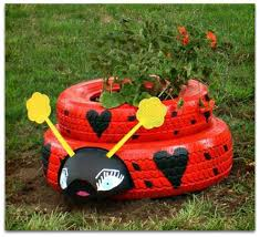 How To Find Ladybugs In Your Backyard More Recycled Tires In The Garden Two Women And A Hoe
