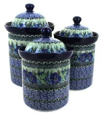 Pottery Kitchen Canisters Sapphire Fields 3 Piece Canister Set Blue Rose Polish Pottery