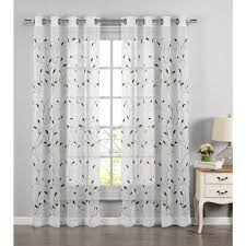 Curtain Panels Window Elements Sheer Wavy Leaves Embroidered Sheer Sage Grommet