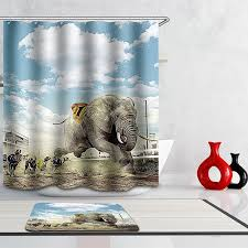 India Shower Curtain Monily Polyester Waterproof Vintage World Map India Elephant