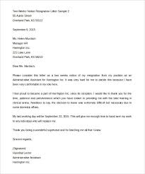 resignation letter 2 week notice resignation letter example to