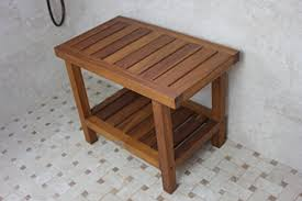 the original spa 24 teak shower bench with shelf