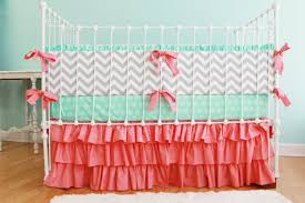 Custom Crib Bedding Etsy Bedding Coral Crib Bedding Chevron Baby Bedding Mint And Coral