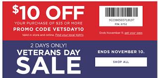 kohl s 2 day veterans day sale 10
