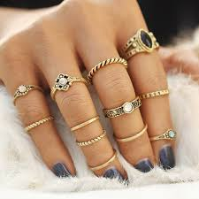 midi rings set vintage lucky gold color midi rings set boho tibetan retro