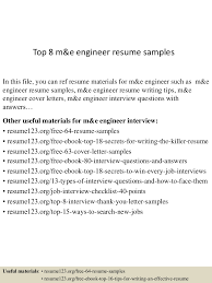 top 8 m u0026e engineer resume samples