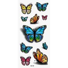 3d colorful butterfly pattern temporary sticker