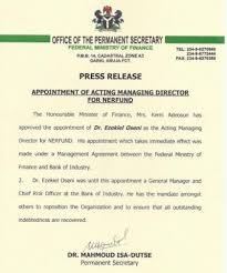 appointment letter manager min of finance approves the appointment of ezekiel oseni as the