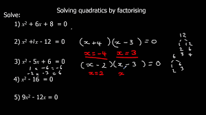 solving quadratics by factorising youtube