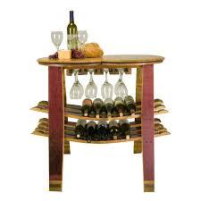 wine barrel table rack with glass holder reclaimed wine barrels