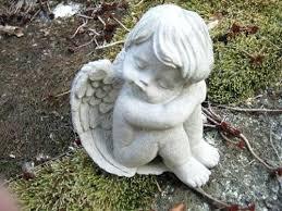 cement garden statues vintage cement cherub holding