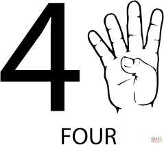 asl number four free download education number coloring pages