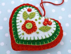 ornaments white felt and buttons by thegroovyzoo on etsy