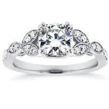 Diamond Cushion Cut Ring Cushion Cut Moissanite Engagement Ring With Diamond 1 1 5 Ctw 14k