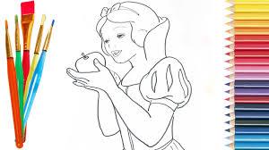 draw snow white disney princess kids coloring pages