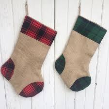 plaid flannel u0026 burlap christmas stocking red and green plaid