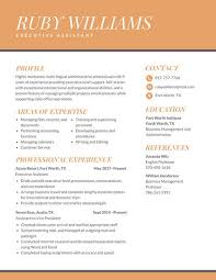 executive assistant resume templates orange professional executive assistant resume templates by canva