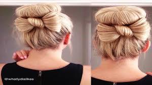 cute bun with bow tutorial youtube