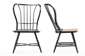 Black Metal Chairs Dining Baxton Studiolongford Walnut Wood And Black Metal Vintage