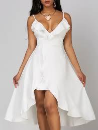 high to low wedding dress ruffle high low wedding dress in white l sammydress
