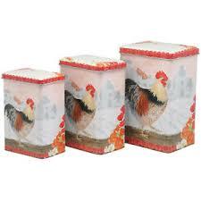 boites cuisine série 3 boites a épices coq en métal pour cuisine de rangement retro