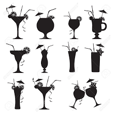set of cocktails on white background royalty free cliparts