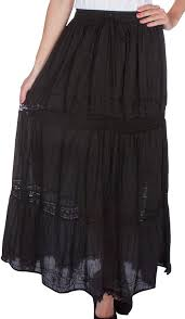 cotton skirts aa254 solid embroidered bohemian maxi