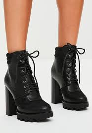 s boots biker black lace up heeled biker boots missguided