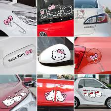 cartoon kitty car stickers decals pink car accessories