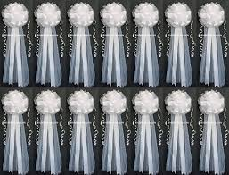 pew bows for wedding set of 14 9 x26 white tulle satin wedding bows pew bows church