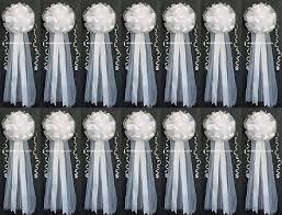 pew bows set of 14 9 x26 white tulle satin wedding bows pew bows church