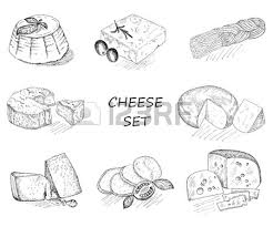 cheese hand drawing set of vector sketches royalty free cliparts