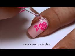 white u0026 pink roses nailart design my birthday nails youtube