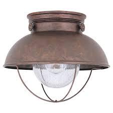 copper flush mount light sea gull lighting sebring 1 light black outdoor flush mount 8869 12