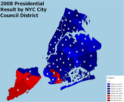 Show Me A Map Of New York by Presidential Results By Current New York City Council District