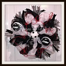 White Deco Mesh Black And White Deco Mesh Soccer Wreath Br063 U2013 Designs By Michela